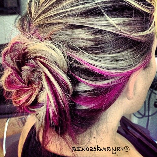 Flower Braid With Pink Peek-A-Boo?? … | Peekaboo Hair intended for Best and Newest Peek-A-Boo Braid Hairstyles