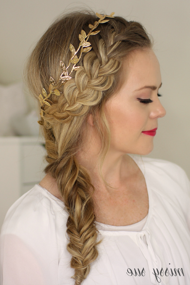 French Braid And Side Fishtail Braid with Most Recent Messy Side Fishtail Braid Hairstyles