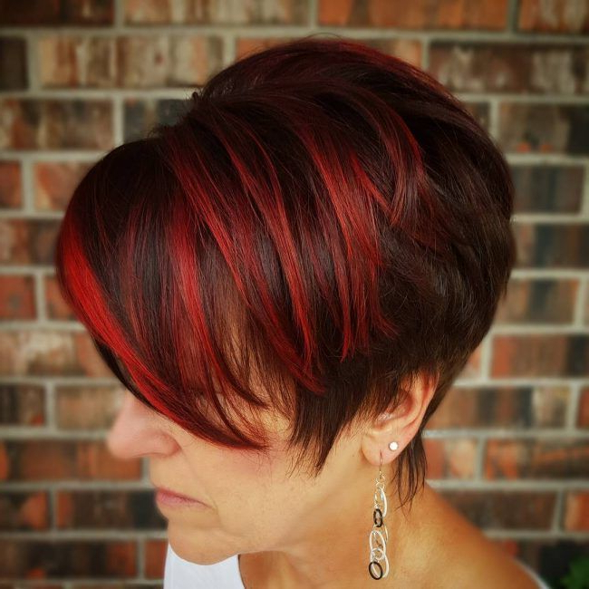 Funky Cherry Red Pixie | Pixie Haircut Styles, Pixie Haircut in Most Current Pageboy Maroon Red Pixie Haircuts