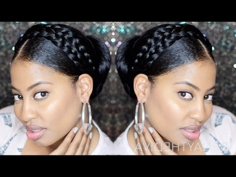 Goddess Halo Milkmaid Braids With Bun Updo pertaining to Best and Newest Updo Halo Braid Hairstyles
