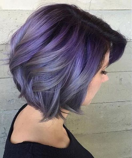 Gorgeous Smokey Lavender Chin Length Hairstyles For Women Throughout Best And Newest Smokey Pastel Colors Pixie Haircuts (View 7 of 25)