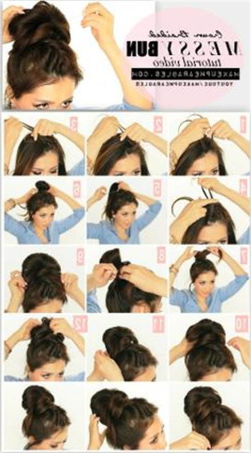 Hairstyles Ideas : 5 Minute Crown Braid Messy Bun Hairstyle For Most Current Messy Crown Braid Hairstyles (View 22 of 25)