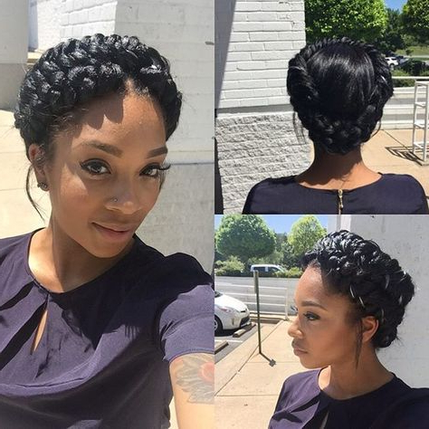 Halo Braid | Fishtail #atlantahairstylist #atlantahair #atl Throughout Most Popular Halo Braid Hairstyles With Bangs (View 2 of 25)