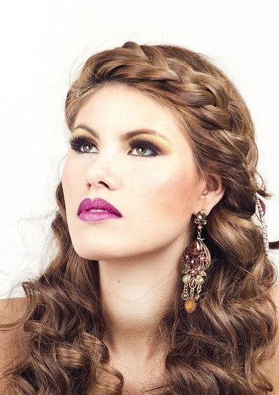 Headband Braid With Waves Long Brown Homecoming Hairstyle Within Most Popular Headband Braid Hairstyles With Long Waves (View 16 of 25)