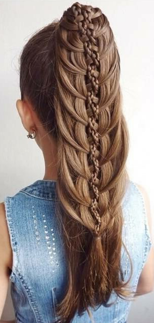 High Ponytail With A Waterfall Braid & A Three Strand Braid Intended For Newest High Waterfall Braid Hairstyles (View 3 of 25)