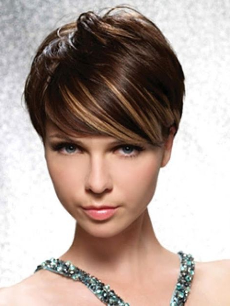 Highlights For Dark Short Hair | Short Dark Hair, Hair Intended For Latest Dark Pixie Haircuts With Blonde Highlights (View 2 of 25)