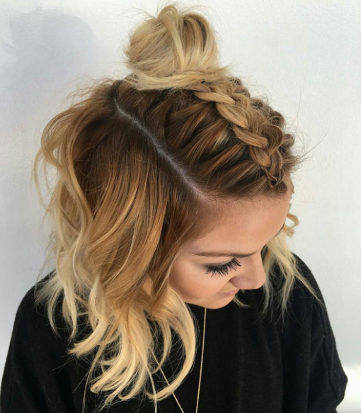 How To: Dark Golden Melt + Dutch Braided Top Knot Inside Most Popular Braided Topknot Hairstyles (View 5 of 25)