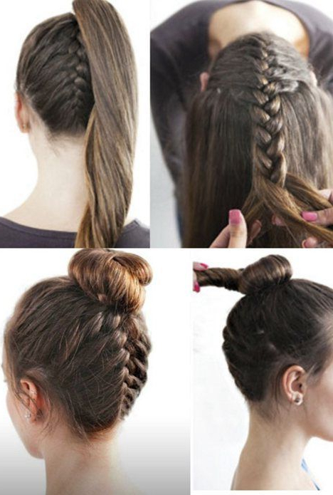 How To Do Upside Down French Braid With Modern Top Knot With Most Up To Date Modern Braided Top Knot Hairstyles (View 6 of 25)