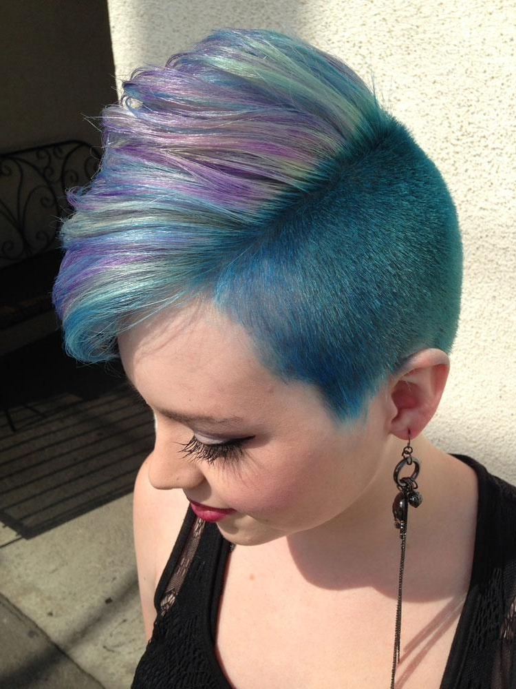 How To: Lavender, Mint & Blue Faux Hawk Inspiredp!nk With Regard To Most Recently Faux Hawk Fade Haircuts With Purple Highlights (View 5 of 25)