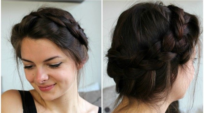 How To Make A Messy Crown Braid On Your Own Hair //loepsie Inside Current Angular Crown Braid Hairstyles (View 13 of 25)