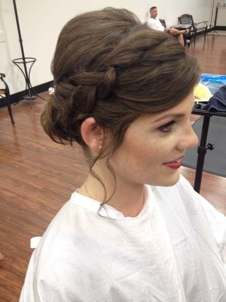 I Like The Side Braid With Front Bangs Tucked In Like This Pertaining To Newest Halo Braid Hairstyles With Long Tendrils (View 4 of 26)