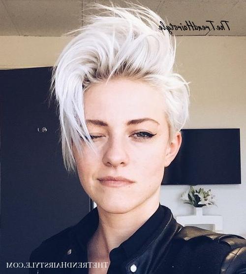 Ice Them Out – 35 Short Punk Hairstyles To Rock Your Fantasy For Most Up To Date Flipped Up Platinum Blonde Pixie Haircuts (View 7 of 25)