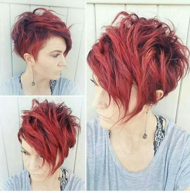 I'm I'm Love With This! | My Hur Did | Frisuren Kurz Throughout Most Recently Wavy Asymmetrical Pixie Haircuts With Pastel Red (View 15 of 26)
