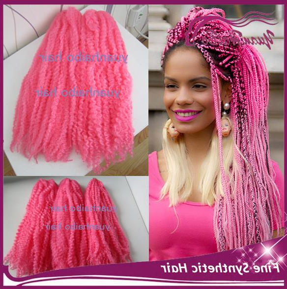 "In Stock! 20"" Fold Afro Kinky Twists Synthetic Braiding Hair In Most Up To Date Baby Pink Braids Hairstyles (View 15 of 25)"