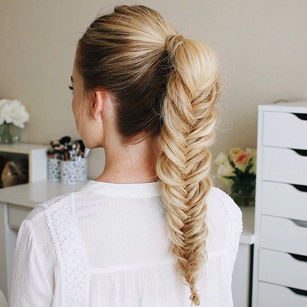 Inspo: Blonde Frost | Hairstyles For School, Ponytail Within Most Up To Date Ponytail Fishtail Braid Hairstyles (View 4 of 25)