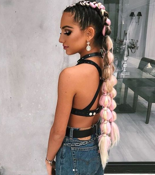 Instagram: Hairtiemeup Festival Braids Pink | Rave Hair With Regard To Current Baby Pink Braids Hairstyles (View 4 of 25)