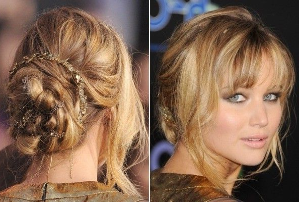 Jennifer Lawrence's Loosely Braided Updo | Jennifer Lawrence in Best and Newest Halo Braid Hairstyles With Long Tendrils