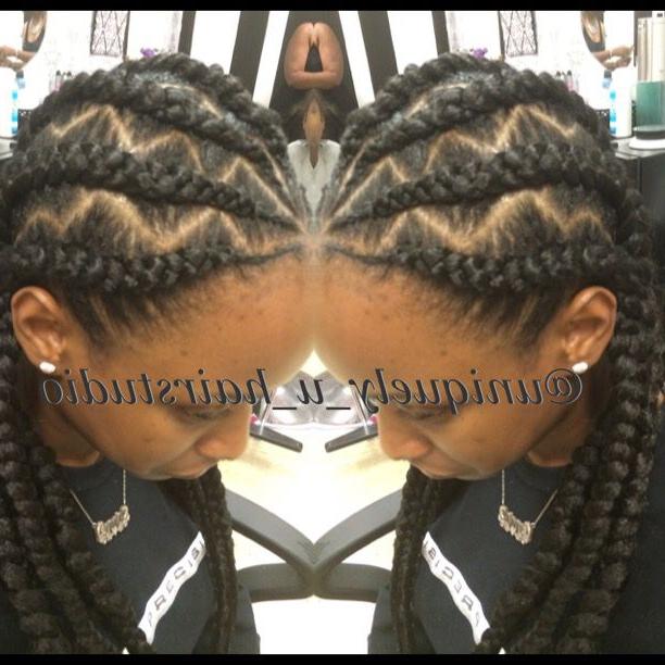 Jumbo Cornrows, Goddess Braids, Natural Hair, Braid Designs in Newest Zig-Zag Braids Hairstyles