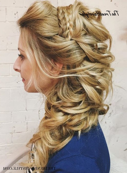 Layered And Gathered Bridal Hairstyle – 40 Gorgeous Wedding With Best And Newest Headband Braid Hairstyles With Long Waves (View 11 of 25)