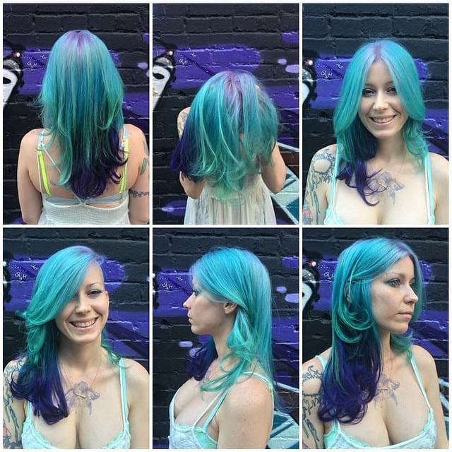 Long Layered Undercut With Blowout And Aqua And Purple Mer Intended For Most Recently Aqua Green Undercut Hairstyles (View 14 of 25)