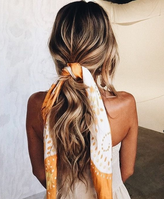 Loosely Tied   Scarf Hairstyles, Hair Styles, Long Hair Styles For Current Loosely Tied Braid Hairstyles With A Ribbon (View 4 of 25)