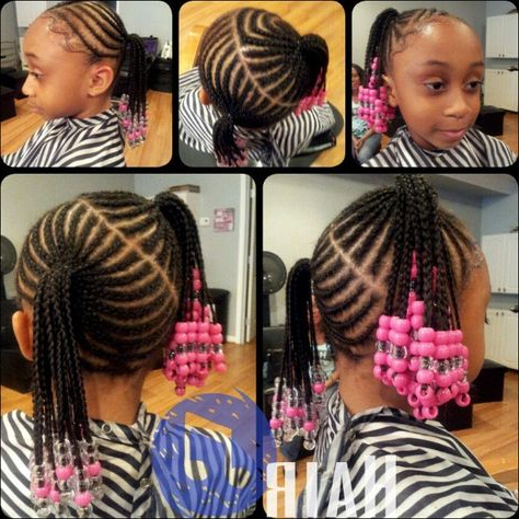 Lopsided Cornrowed Pig Tails | Little Girl Braids, Hair Intended For Most Up To Date Beaded Plaits Braids Hairstyles (View 6 of 25)