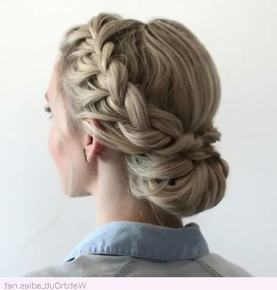 Low Bun, Braid And A Nice Blonde Hair Color (Bridesmaid Hair Within Current Plaited Low Bun Braid Hairstyles (View 1 of 25)