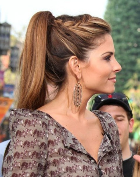 Maria Menounos Hairstyles High Ponytail With Braid – Fmag With 2020 Cornrow Fishtail Side Braid Hairstyles (View 17 of 25)
