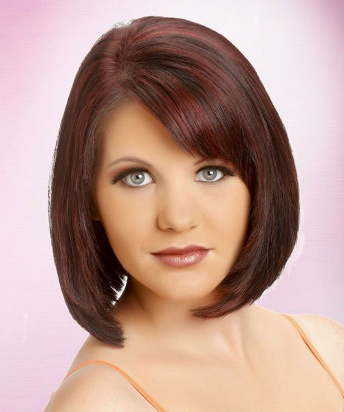 Medium Straight Layered Burgundy Brunette Bob Haircut With Throughout Smooth Bob Hairstyles (View 21 of 26)
