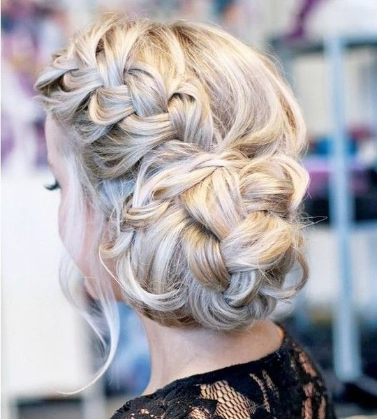 Messy Braided Bun Updo | Hair Styles, Dance Hairstyles Intended For Most Up To Date Plaited Chignon Braid Hairstyles (View 18 of 25)