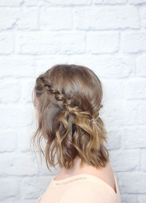 Messy Braided Crown For Shorter Hair Tutorial | Braids For In Recent Messy Crown Braid Hairstyles (View 20 of 25)