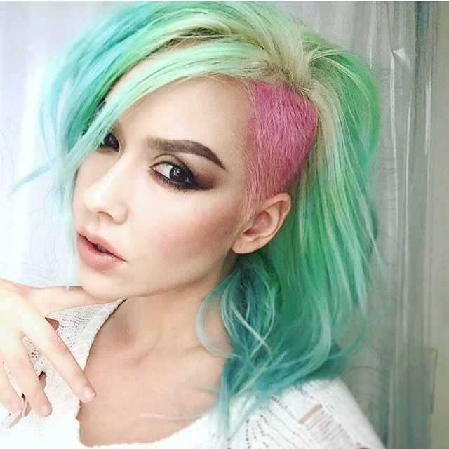 Mint Green Hair Color With Blue Hair And Pink Hair Color Intended For 2018 Aqua Green Undercut Hairstyles (View 3 of 25)