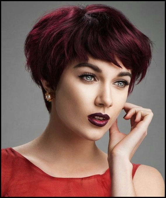 Modern Short Haircuts 2018 – Hair Color Ideas In Best And Newest Pageboy Maroon Red Pixie Haircuts (View 25 of 25)