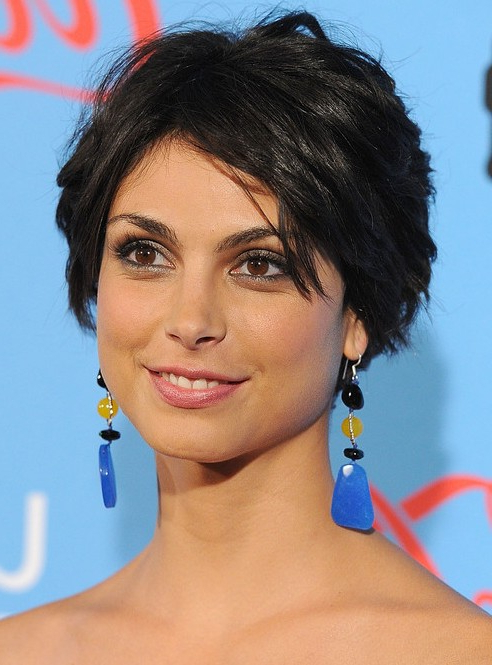 Morena Baccarin Layered Short Black Crop Cut – Hairstyles Weekly Pertaining To Latest Morena Pixie Haircuts With Bangs (View 14 of 25)