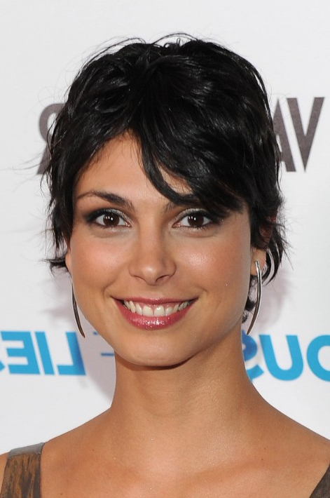 Morena Baccarin Shaggy Layered Short Black Haircut In Most Recent Morena Pixie Haircuts With Bangs (View 17 of 25)