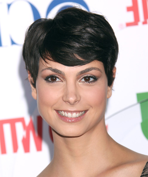 Morena Baccarin Short Straight Black Hairstyle With Side For Most Recently Morena Pixie Haircuts With Bangs (View 10 of 25)