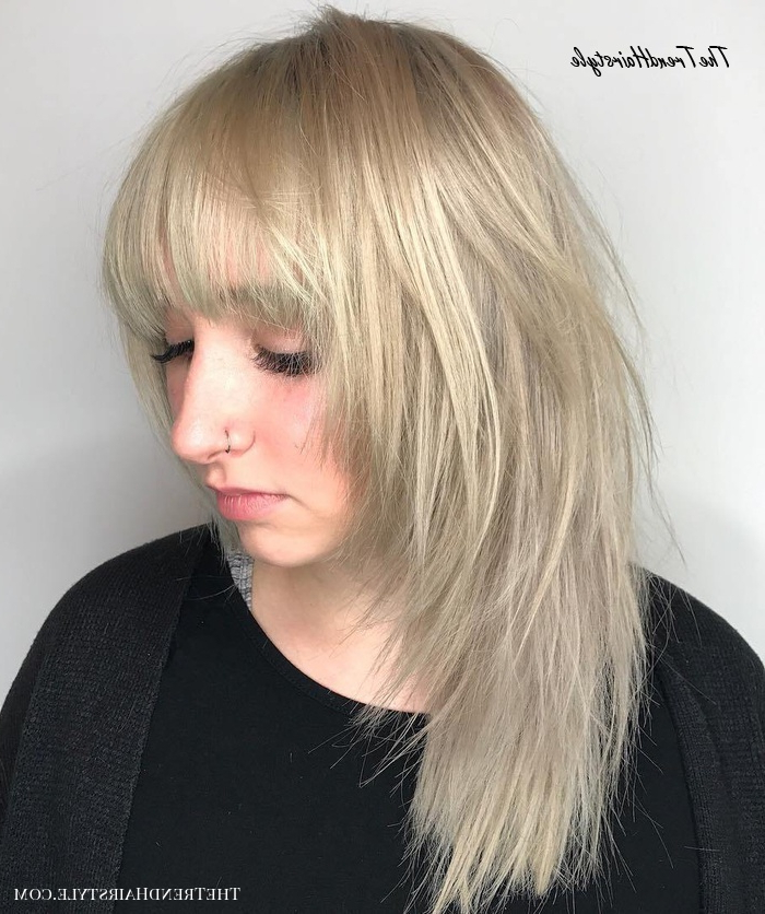 One Length Lob With Jagged Ends – 20 Gorgeous Razor Cut Throughout Latest Razor Haircuts With Long Bangs (View 11 of 25)