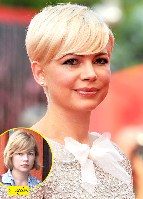 Ooh! I Love Michelle Williams' New Platinum Pixie Haircut Throughout Most Up To Date Michelle Williams Pixie Haircuts (View 24 of 25)