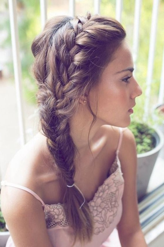 Picture Of A French To Fishtail Side Braid Is A Relaxed And within Recent Fishtail Side Braid Hairstyles