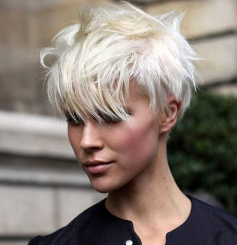 Picture Of Icy Blonde Pixie Haircut Looks Very Modern with Most Current Blonde Pixie Haircuts