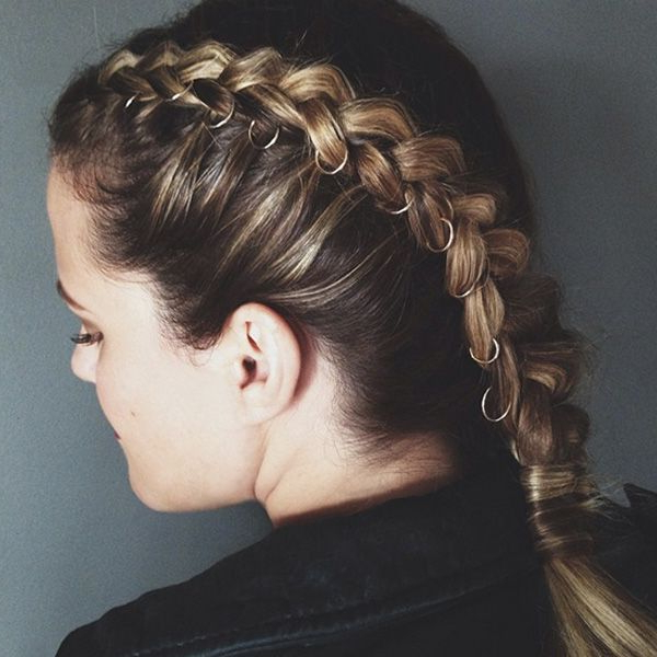 Pierced Braids Are The Coolest Way To Step Up Your Hair Game Regarding Recent Hoop Embellished Braids Hairstyles (View 2 of 25)