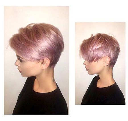 Pin On Glam inside Most Recent Edgy Textured Pixie Haircuts With Rose Gold Color