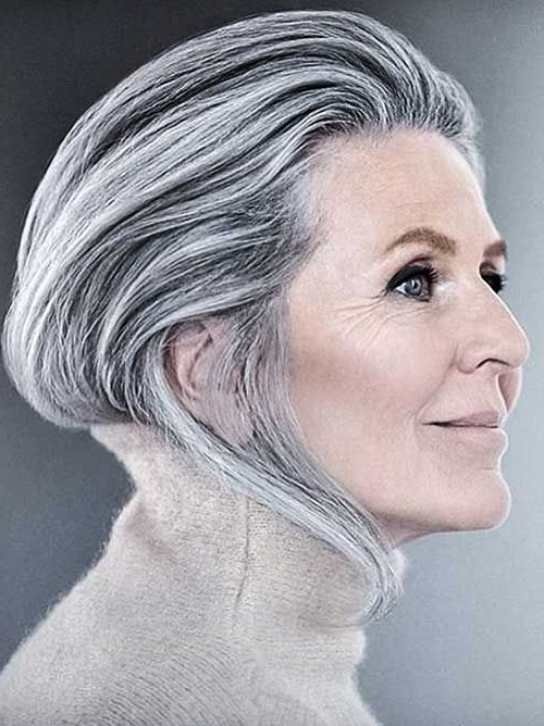 Pin On Gray, Silver, White Hairstyles in Slicked Bob Hairstyles
