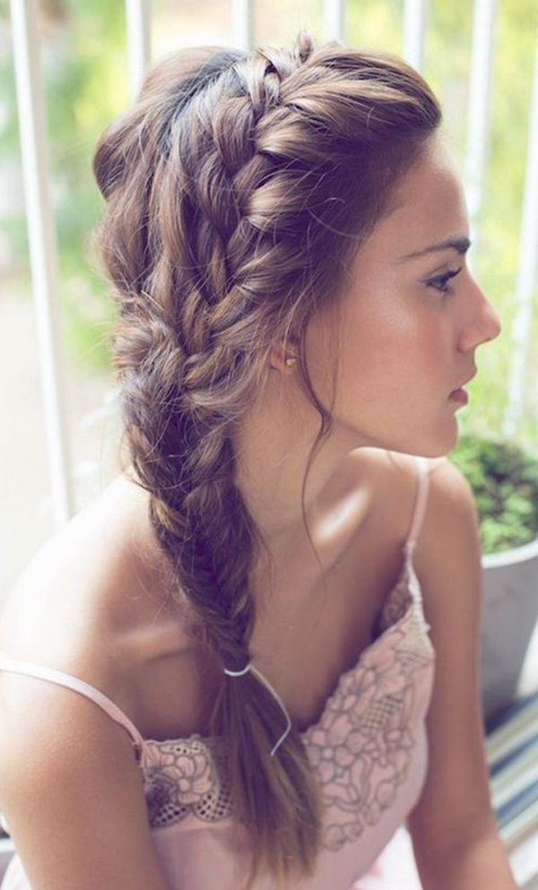 Pin On Hairstyles And Makeup within Best and Newest Side Swept Carousel Braid Hairstyles