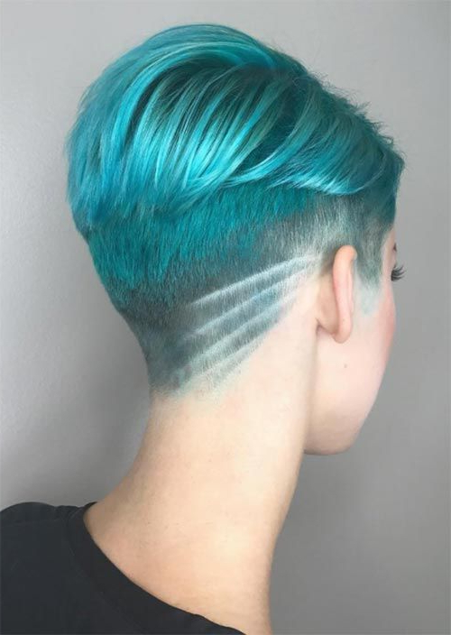 Pin On Hairstyles with Most Up-to-Date Aqua Green Undercut Hairstyles