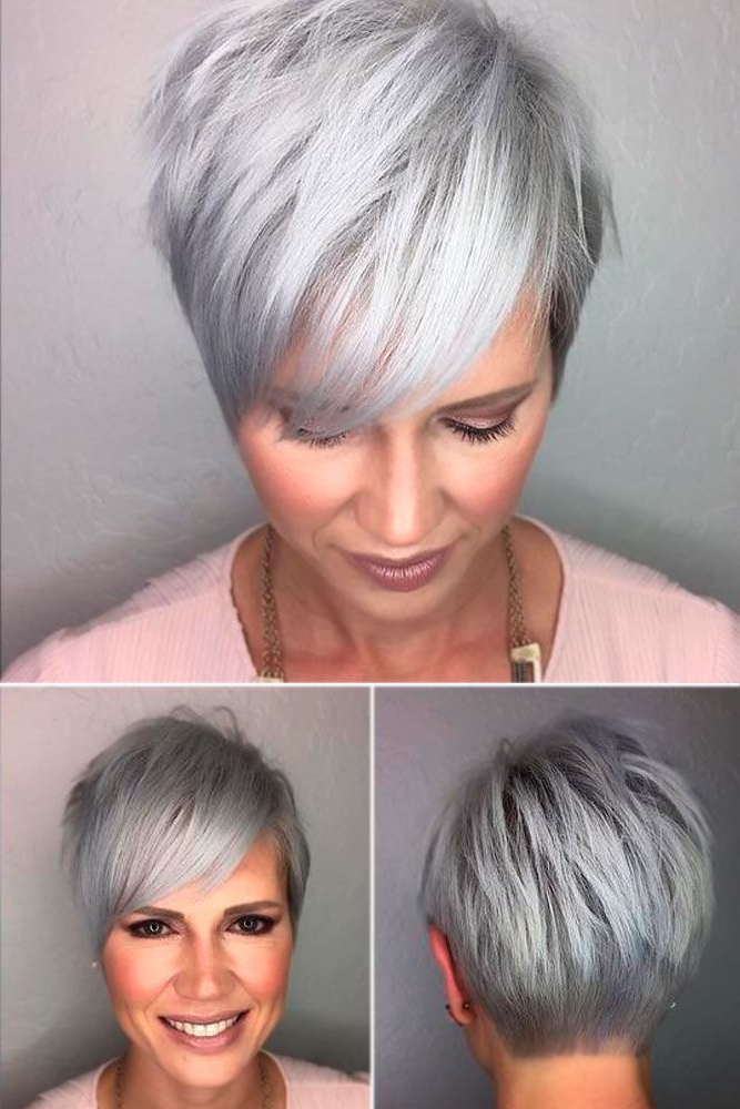 Pin On My Style throughout Most Recent Silver Pixie Haircuts With Side Swept Bangs