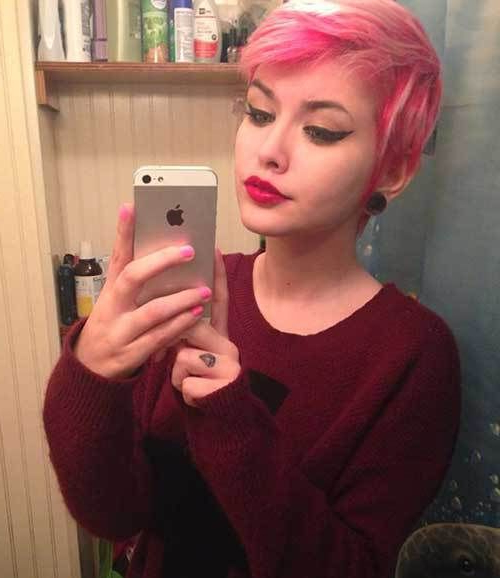 Pin On Pixies pertaining to Current Wavy Asymmetrical Pixie Haircuts With Pastel Red