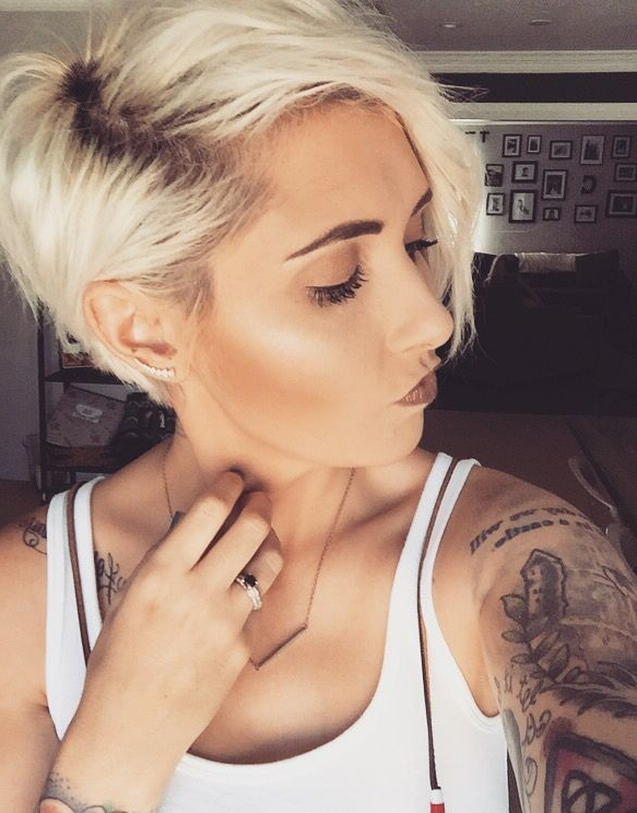Pin On Platinum Blonde Pixie throughout Current Long Undercut Hairstyles With Shadow Root