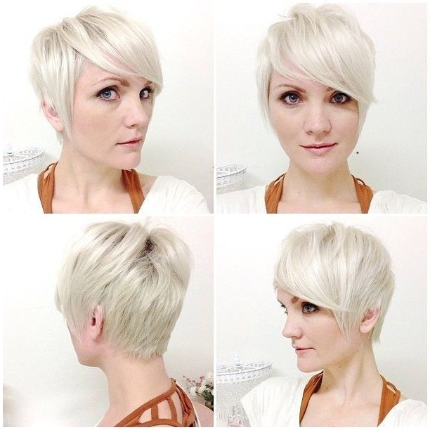 Pin On Short Hairstyles intended for Newest Flipped Up Platinum Blonde Pixie Haircuts