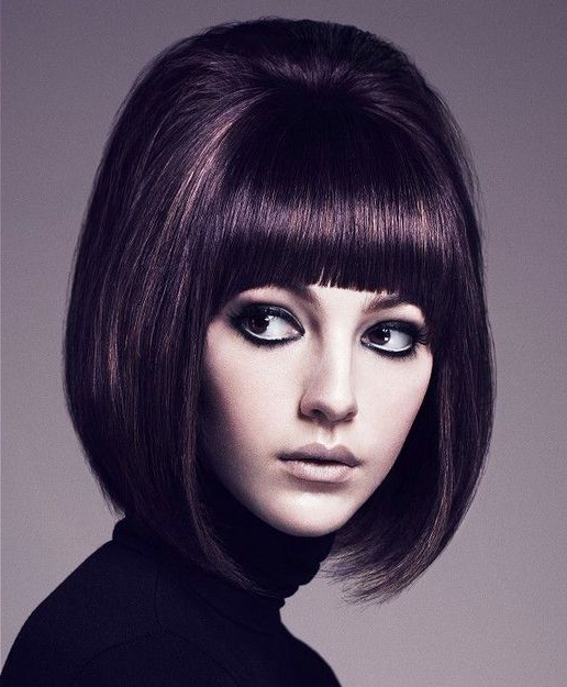 Pin?Prettymessy? On Hair Makeup And Nails!!!   Mod Within Vintage Bob Hairstyles With Bangs (View 8 of 25)